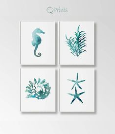 Nautical Art Print Snail Shell Art Set of 4 Digital Seastar Coastal Wall Art, Diy Wall Art, Coastal Decor, Diy Wand, Zentangle, Coral Art, Snail Shell, Nautical Art, Bathroom Art