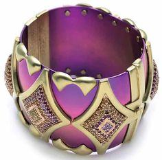 Arabian Jewels. Kara Ross Arabian Nights large titanium cuff with sapphire and diamonds