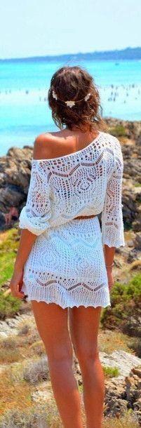 Dress: summer dress, summer outfits, cute dress, sundress, beach dress, hot weather, jewels, white lace off shoulder dress, white crochet dress, white, boho, summer dress, white, lace, crochet, knitted - Wheretoget