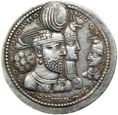 sassanian silver drachm of Vahram (Bahram ) II with queen and prince vahram III ca, 276-293 AD.