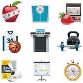 Fitness icon set vector — Ilustração de Stock