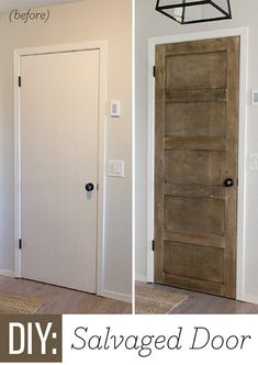 Foyer Update: DIY Salvaged Door using cab grade plywood to enhance hollow core doors! Home Renovation, Home Remodeling, Bathroom Remodeling, 5 Panel Doors, Front Doors, Hollow Core Doors, Ideas Hogar, My New Room, Home Projects