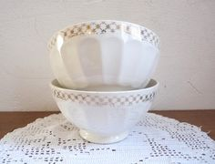 Vintage Pair of FRENCH BREAKFAST BOWLS, Cafe au lait bowls with gold decorated edge.