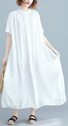 Chic Stand Collar Summer Clothes Women Work White Maxi Dresses Summer Maxi, Casual Summer Dresses, Summer Outfits Women, Summer Clothes, White Linen Dresses, Cotton Dresses, Chiffon, Clothes Women, Short Sleeve Dresses