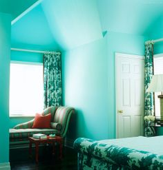 Turquoise Walls Frame This Green And White Toile Bedroom With Complementary Color Red Accents