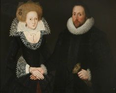 """Portrait of an Unknown Man and Woman "" by Unknown Artist, around 1610. What a merry, merry couple - the stiff handshake and the crazy eye are really unsettling."