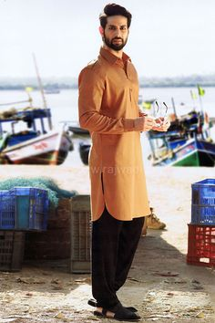 """""""Rust"""" timeless color for men paired with black bottom #rust #pathani #suit #trendy #SRK #Raees"""