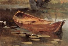 """""""Boat on a lily pond, sjundby"""", oil on canvas, Helene Schjerfbeck Finland Helene Schjerfbeck, Helsinki, Japanese Vase, Nordic Art, Boat Painting, Lily Pond, Abstract Images, Still Life, Oil On Canvas"""
