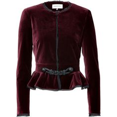EMILIO PUCCI Burgundy Velvet Peplum Jacket (2 265 AUD) ❤ liked on Polyvore featuring outerwear, jackets, tops, coats, blazers, peplum blazer, burgundy velvet jacket, brown blazer, blazer jacket and burgundy jacket