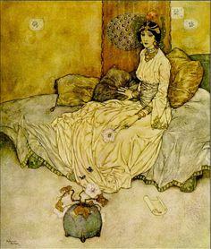 1916 Edmund Dulac, 'Stories From The Arabian Nights' ~ The Princess Deryabar