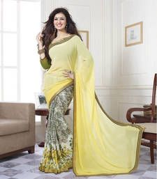 Buy Yellow printed georgette saree with blouse party-wear-saree online