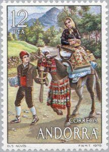 Sello: Costumes (Andorra (Administración Española)) (Costumes) Mi:AD-ES 122,Sn:AD-ES 110,Yt:AD-ES 115,Edi:AD-ES 124