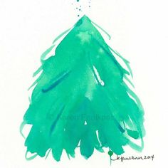 A little evergreen tree watercolor painting #etsygifts