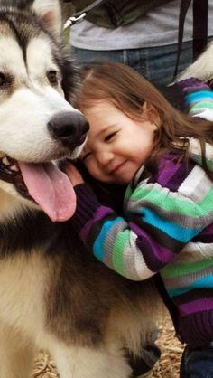 Husky , little kid, Animal, Dog