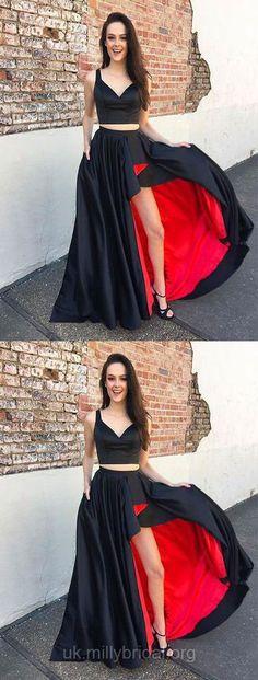 High Low Prom Dresses, Two Piece Prom Dresses, V-neck Formal Dresses 2018, A-line Graduation Dresses with Pockets