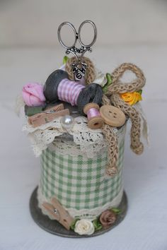 · This completely functional handcrafted pin cushion is all handmade and complements the avid seamstress as well as can be used as a lovely decoration around your home. The materials used are researched… Shabby Chic Crafts, Vintage Crafts, Vintage Sewing, Wooden Spool Crafts, Wood Spool, Fabric Crafts, Sewing Crafts, Sewing Projects, Diy Crafts