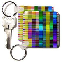 Many photos manipulated and given volume in 3D with yellow and purple Key Chain