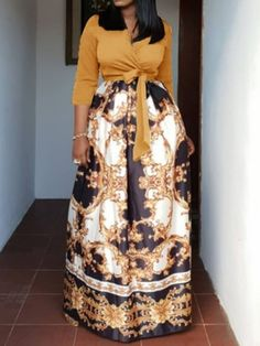 Ericdress African Fashion V-Neck Floor-Length Color Block Dress Ericdress mode africaine v-cou -paro Latest African Fashion Dresses, African Print Fashion, Ethnic Fashion, African Wear, African Dress, Ladies Day Dresses, Looks Plus Size, Western Dresses, Colorblock Dress