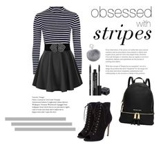 """""""Obsessed with Stripes"""" by melodyvt ❤ liked on Polyvore featuring Topshop, Adrienne Landau and Rodial"""