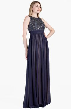 JS Collections Beaded Bodice Chiffon Gown @Lyst