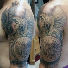 ec336e32b74a5 125 Best Aztec Tattoo Designs for Men - Wild Tattoo Art #shouldertattoos  Aztec Warrior Tattoo