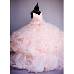 Девушки Свадьба Платья Розовый Бальное платье Розовый Прекрасный Цветок Девушке Платье 2017 Длинные Органзы Девочка Малышей Pageant Платья