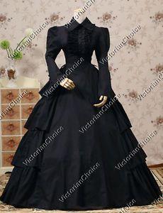 Gothic Victorian Dress Theatre Adult Women Halloween Costume Vampire Punk 007