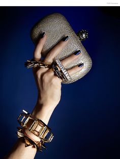 Jennifer Fisher All Bracelets & Cuffs, Noir All Rings, Alexander McQueen Clutch, Nail Color Metallica Blue by Kleancolor