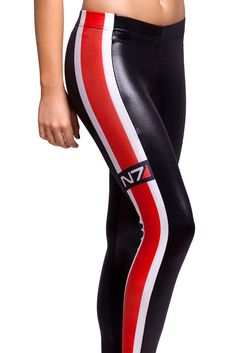 Free Shipping Women Full Length Ladies N7 Red Stripe Leggings Slim Digital Print Brand Clothes Wholesale Punk Leggings-in Leggings from Appa...