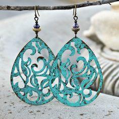 Large Aqua Bohemian Chandelier Earrings - Filigree, Antique Gold, Purple, Light