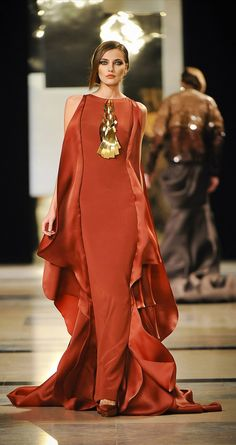 Long silk flowing dress, chunky jewellery....elegant Boho! My kind of style!