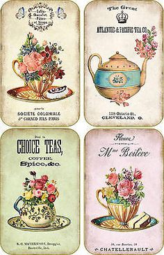 Vintage inspired tea company cup scrapbooking crafts ATC altered art set 8