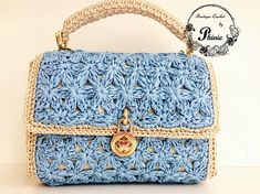 Items similar to Stylish Crochet Handbag on Etsy Italian Leather Handbags, Soft Leather Handbags, Black Handbags, Crochet Handbags, Crochet Purses, Embroidery Purse, Handbag Organization, Crochet Accessories, Handmade Bags
