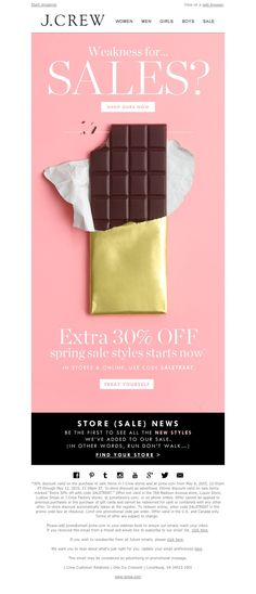 Crew: It's back. The Even Sweeter Sale (extra off spring sale styles) starts now. Plus, there are new sale styles in stores. Email Layout, Newsletter Layout, Email Newsletter Design, Off Spring, Spring Sale, Email Marketing Design, Sales And Marketing, Marketing Ideas, E-mail Design