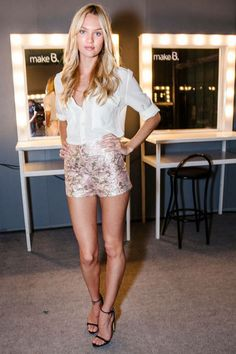 Candice Swanepoel Style Metallic Floral Shorts