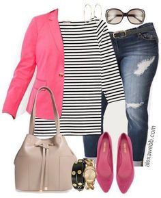 Plus Size Stripe Top Outfits - Plus Size Fashion for Women - alexawebb.com #alexawebb