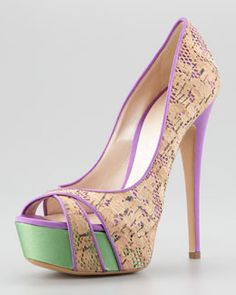 Casadei.  Cork Lace Pump.  These make me smile!