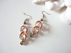 Ohrhänger - orange-bronze Nespresso Ohrringe in Kettenform - ein Designerstück von shadisha bei DaWanda