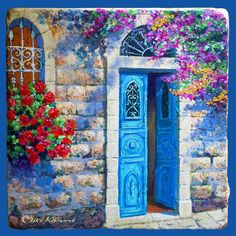 Blue door in Jerusalem This Colorful painting is reminiscent of the colors of the Mediterranean Blue, turquoise and a lots of light Original Colorful Paintings, Beautiful Paintings, Unique Doors, Painted Doors, Religious Art, Landscape Paintings, Nature Paintings, Acrylic Paintings, Painting Inspiration