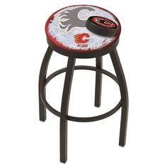 Calgary Flames NHL D2 Black Flat Ring Bar Stool. Available in 25-inch and 30-inch seat heights. Visit SportsFansPlus.com for details.