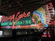 Kitsap lake Drive In Theatre  - Photograph Neon Chief by Lyndal Shirley on 500px