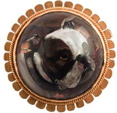 Gold mounted reverse intaglio crystal brooch of a Bulldog circa 1880