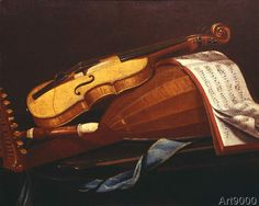 Evaristo Baschenis - Still life with musical instruments and sheet music