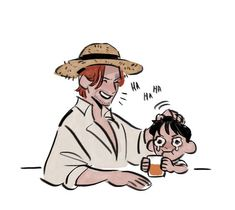 Shanks and Luffy One Piece Ace, One Piece Series, One Piece Funny, Anime One Piece, One Piece Fanart, Cowboy Bebop, Blue Exorcist, One Piece Tumblr, Mugiwara No Luffy