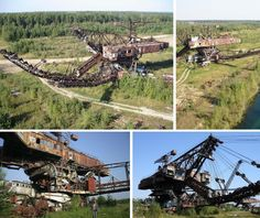 Bagger 293 is the largest machine ever built. It was built by a German company in 1995 as a coal strip mining shovel and is now abandoned at a closed mine in the former East Germany. The device never paid for itself because of the falling price of coal and will probably be left to rot because it's too expensive to dismantle and remove. It took 5 people to operate the device.