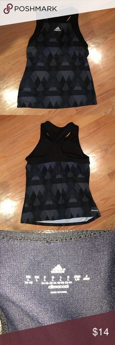 Adidas- black/gray racerback exercise top- L Perfect for the gym or running errands- black/gray pattern exercise top by ADIDAS- like new with no signs of wear- climacool material- built in bra- from smoke free home Adidas Tops Tank Tops