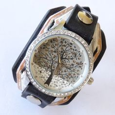 Crazy Leather watch, Women wrist watch, Women leather cuff watch, Black & White Watch