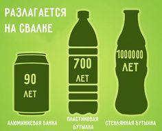 Правда ведь не хочется, чтобы бутылка, из которой вы сегодня пили сок, пережила вас, ваших детей и внуков? Так давайте перестанем плодить бесполезный мусор, а будем перерабатывать его и делать новые полезные вещи: http://irecycle.ru/pin_0226_01