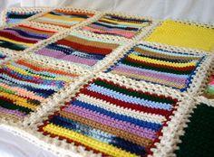 Scrap yarn crochet afghan blanket aran by lovinghandscrochet