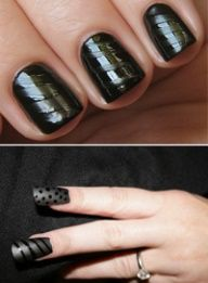 How to get textured nails:   First paint your nails with a matte nail polish and let it dry to a velvety finish. Then dip a small brush into a shiny polish in the same shade (or you can just use a clear topcoat) and swipe it across each nail to create several shiny stripes.